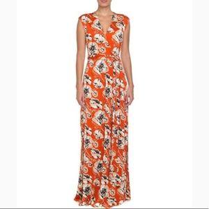 Tory Burch Poppy Silk Knit Faux Wrap Maxi Dress XS